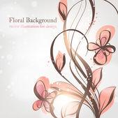 Hand dras floral bakgrund med blommor, hälsning vektor kort för retro design — Stockvektor