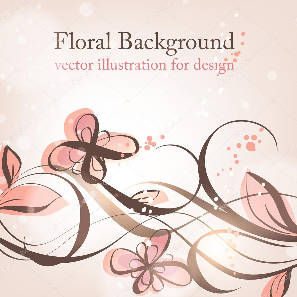 Hand Drawn floral background with flowers, greeting vector card for retro design — Stock Vector #14549927