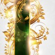 Spring green golden card with seamless ornament at background and sun shine — Stock vektor