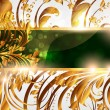 Spring green golden card with seamless ornament at background and sun shine — Vettoriali Stock
