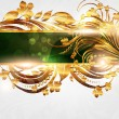 Spring green golden card with seamless ornament at background and sun shine — Векторная иллюстрация