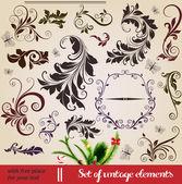 Vector set di elementi di design calligrafico: pagina decorazione, cornici calligrafici — Vettoriale Stock