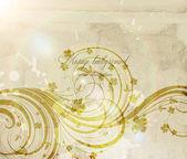 花のパターンを持つ古典的な壁ペーパー — ストックベクタ