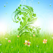 Summer vector grass wallpaper with flowers, ladybird, drops and sun shine — Stock vektor