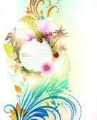 Streszczenie tło kwiatowy lato kwiatów, słońca, biedronka, wiśni i palmy — Wektor stockowy