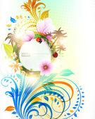 Fondo floral verano vector abstracto con flores, sol, mariquita, cereza y palmas — Vector de stock