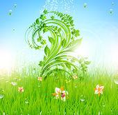 Verão vetor grama papel de parede com flores, joaninha, gotas e brilho do sol — Vetor de Stock