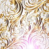 Bezešvé letní květina tapeta vzor gold, vektor — Stock vektor
