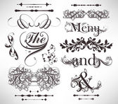 Vector set: calligraphic design elements and page decoration — Vettoriale Stock