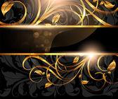 Złote ramie kwiatowy ornament z liści i kwiatów na projekt — Wektor stockowy