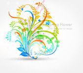 Floral summer design elements with sun shine — Vecteur