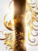 Sommaren vit golden kort med sömlös prydnad på bakgrunden och sun shine — Stockvektor