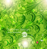 Abstract bright summer vector floral background with flowers, ladybird and sun shine — Stock Vector