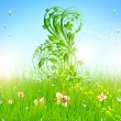 Summer vector grass wallpaper with flowers, ladybird, drops and sun shine — Imagen vectorial