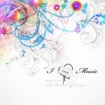Handdrawn floral design elements. Spring music design. — Stock Vector