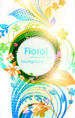 Abstract vector floral summer background with flowers, sun and ladybird — Stock Vector