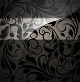 Seamless floral background with flowers pattern for wallpaper design, black. — Stock Vector