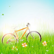 Summer grass banner with flowers, ladybird, drops, sun shine and bike. — Векторная иллюстрация