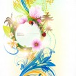 Abstract vector floral summer background with flowers, sun, ladybird, cherry and palms - Stock Vector