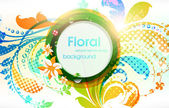 Abstract vector floral summer background with flowers, sun and ladybird. — Stock Vector