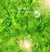 Abstrakt, helle sommer oder sommer vektor floral background mit blumen, marienkäfer und sonne glanz — Stockvektor