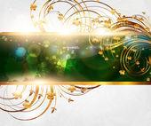 Summer vector golden floral banner for vintage design — Stock Vector