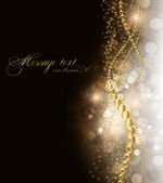 优雅魔术金黄背景与地方为文本的邀请。与星,太阳照耀和火花 — 图库矢量图片
