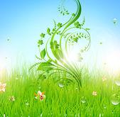 Summer vector grass wallpaper with flowers, ladybird, drops and sun shine — Stock Vector