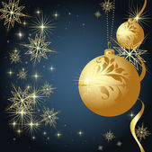 Merry Christmas and Happy New Year vector with ball, fur tree branch and stars. — 图库矢量图片