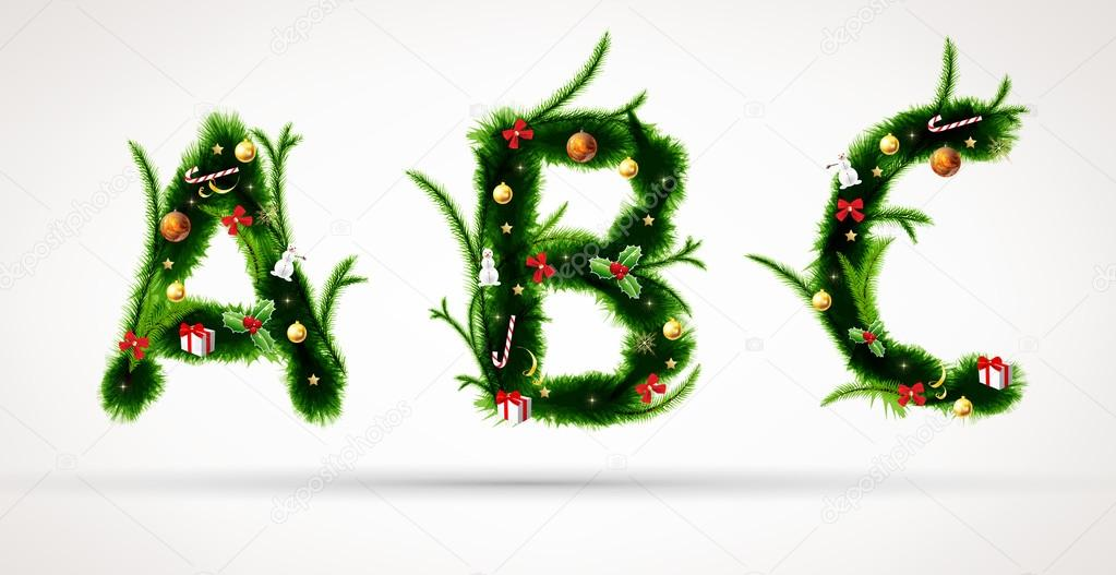 Abc, vector christmas tree font — Stock Vector #14919883