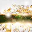 Summer white golden card with seamless ornament at background and sun shine - Imagens vectoriais em stock