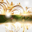 Summer white golden card with seamless ornament at background and sun shine - Imagen vectorial