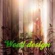 Floral spring design elements. Flower abstract wood background for retro design. Vector - Imagens vectoriais em stock