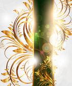 Lato biały karta złota z ornamentem bez szwu w tle i słońca blask — Wektor stockowy