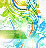 Floral sommer-design-elemente mit sonne — Stockvektor
