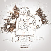 Christmas hand drawn Santa Claus with fur tree and gifts for xmas design. With balls. — Stok Vektör