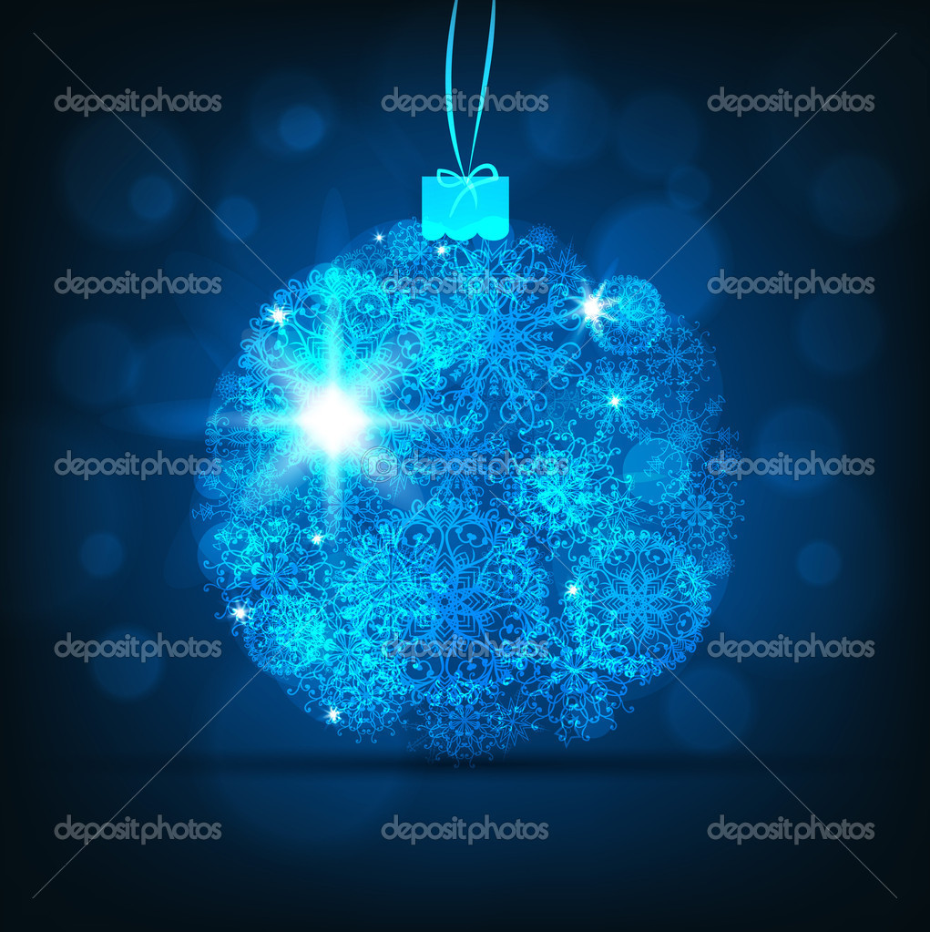 Abstract Winter background.Christma s abstract bokeh. With blue christmas baubles — Stock Vector #15334351