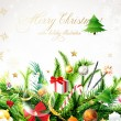 Christmas background with baubles and christmas tree - Stockvectorbeeld