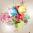 Christmas background with baubles and christmas tree - Векторная иллюстрация