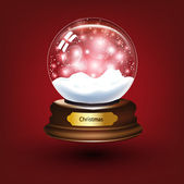 Empty snowglobe against a bright defocused background with glittering lights and snowflakes for Christmas design. — Stock Vector
