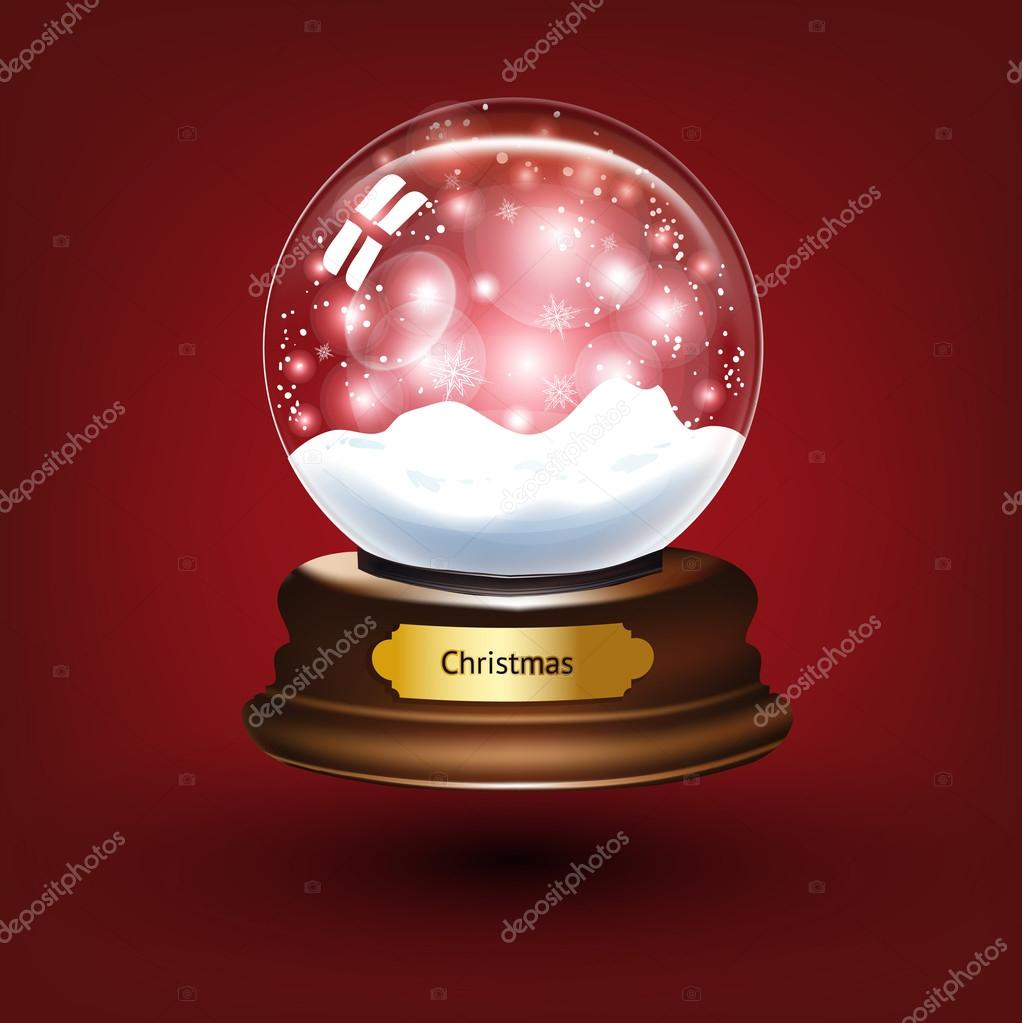 Empty snowglobe against a bright defocused background with glittering lights and snowflakes for Christmas design. — Stock Vector #15469023
