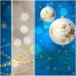 Stock Vector: Blue Elegant christmas background with baubles