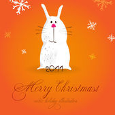 Christmas POSTER. rabbit — Stock Vector