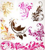 Fond floral dessiné de main avec des fleurs, carte de vecteur pour le design rétro de voeux — Vecteur