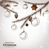 Christmas hand drawn fur tree for xmas design. With balls, toys and fir-cone. — 图库矢量图片
