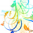 Abstract vector floral summer background with flowers, sun and ladybird - Stock Vector