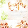 Hand Drawn floral background with flowers, greeting vector card for retro design - Stok Vektör