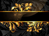 Armação de ouro floral ornamento com folhas e flores para design retro — Vetorial Stock