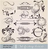 Vector set: éléments de conception calligraphiques et décoration de page — Vecteur