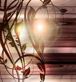 Elementi di design floreale primaverile. fiore legno astratto per design retrò. Vector — Vettoriale Stock